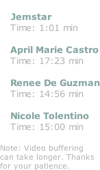 Jemstar    Time: 1:01 min     April Marie Castro    Time: 17:23 min     Renee De Guzman    Time: 14:56 min     Nicole Tolentino    Time: 15:00 min  Note: Video buffering can take longer. Thanks  for your patience.